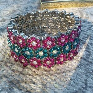 Jewelry - Stackable Rhinestone Flower Cuff Bracelet's